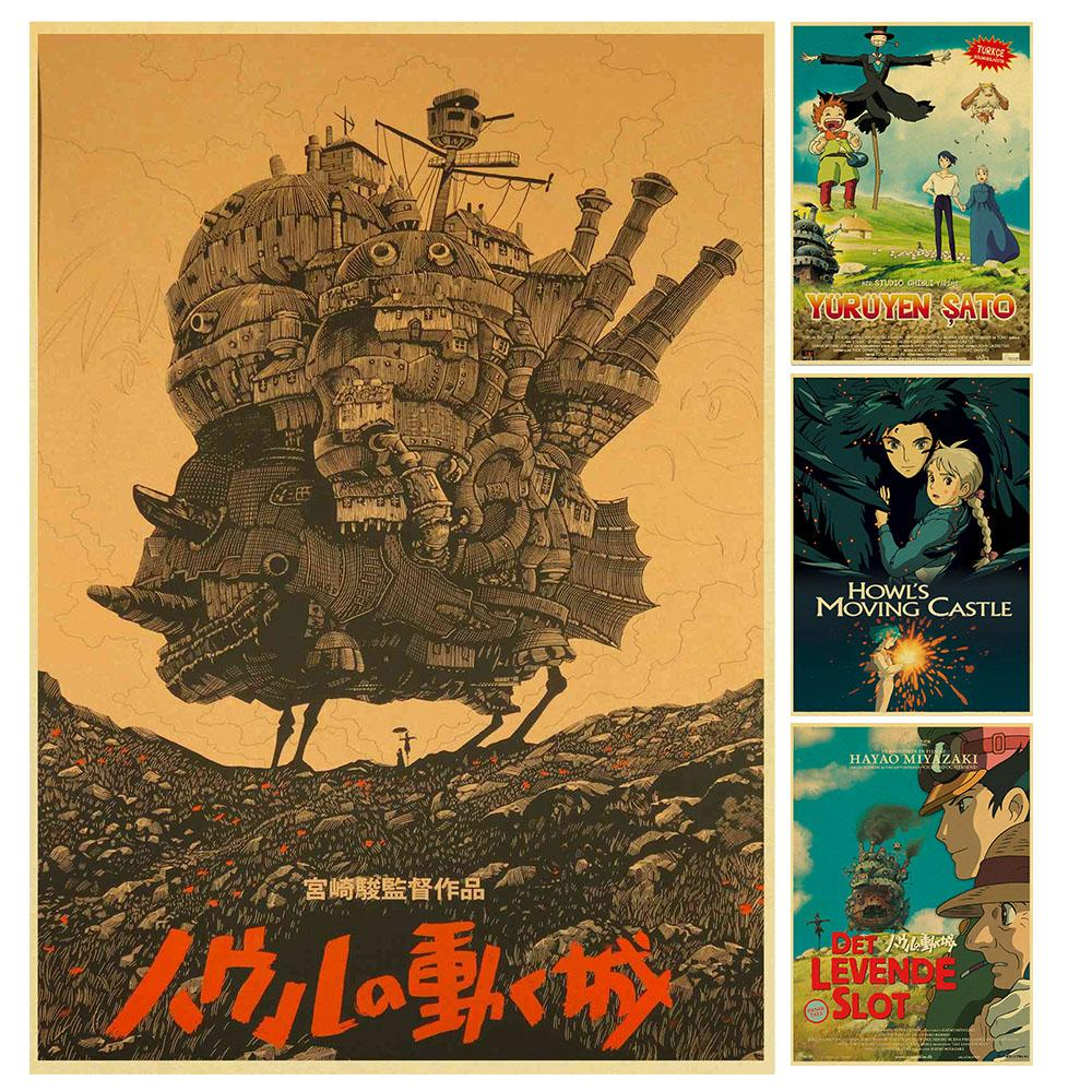Miyazaki Hayao carrrtoon movie Howl's Moving Castle high quality Retro Poster Vintage poster Wall Decor For Home Bar Cafe image