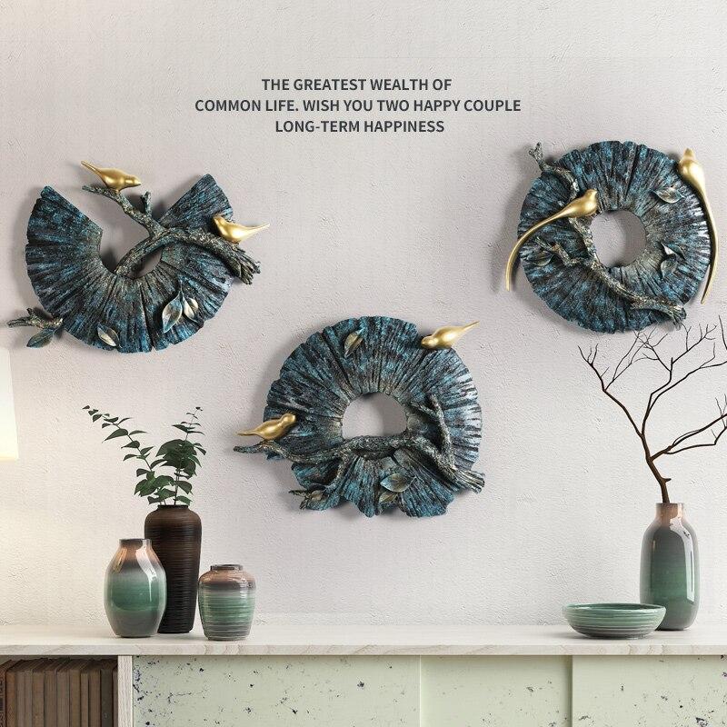 Stile americano 3D Stereo Della Resina di Figura Rotonda Animali Uccelli Artigianato Decorazione Della Parete Della Parete Creativo Cinese Corridoio Murale Ornamenti-in Adesivi murali da Casa e giardino su  Gruppo 1