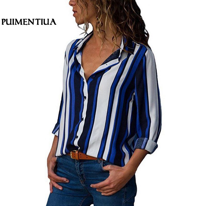 Puimentiua Women   Blouse     Shirts   2018 Autumn Ladies Harajuku Long Sleeve V-neck Button Floral Striped Print Tops Plus Size S-5XL