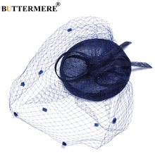 BUTTERMERE Linen Hat Fedoras Blue Ladies Pillbox Wedding Elegant Veil Cap Mesh Grace Retro Party Bridal Net Hats Women 2019