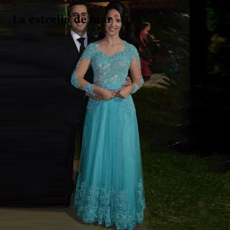 Vestidos Madre Novia2019 Bridal Lace Beaded Long Sleeve A Line Turquoise Mother Of The Bride Dresses Long Abito Per La Sposa