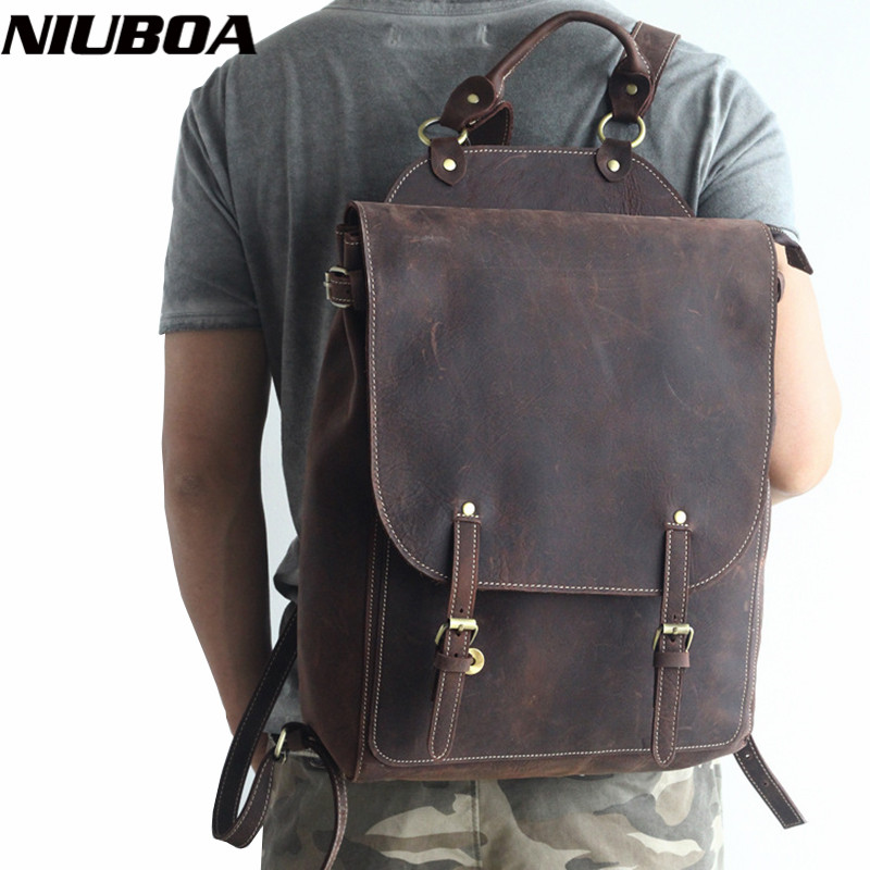 "NIUBOA 100% Genuine Leather Backpack Men Retro Travel Backpacks 15"" <font><b>Real</b></font> Leather School Weekend Bags High Quality Shoulder Packs"