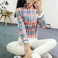 Blusas de veludo camisas artigo camisas femininas inverno Tops de manga longa Blusa Camisa Xadrez 2016 Das Mulheres da forma Camisa De Algodão Senhoras casuais