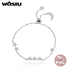 WOSTU Brand New Real 925 Sterling Silver Moon & Stars Adjustable Chain Bracelet For Women Fine Jewelry New Year Gift CQB007(China)