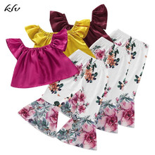 2019 Newborn Baby Girls Summer Off Shoulder Tops + Flared Floral Pants Outfits