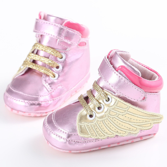Angel Wings Baby Boys Girls Non-slip PU Leather Newborn Baby First Walkers Shoes  Infant Child Gold Pony Wing Toddler Boots Shoe 8514098868bc