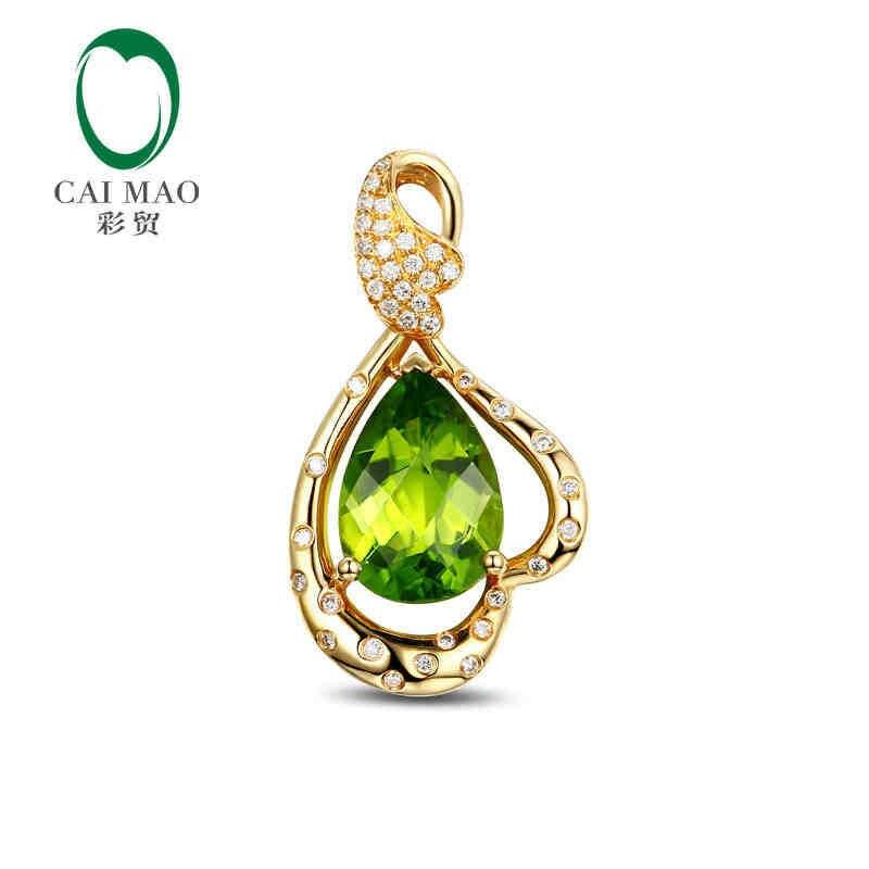CaiMao 18KT/750 or jaune 4.15 ct naturel si péridot et 0.20 ct diamant coupe complète bijoux de fiançailles pierres précieuses pendentif