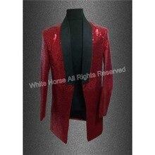 長い赤いブレザー用男性スーツジャケットpailletteのコスプレgドラゴンスパンコールステージ衣装mcホスト衣類歌手メンズブレザー