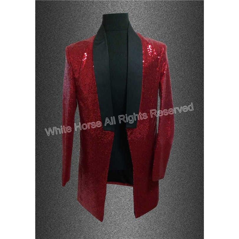 남자를위한 긴 빨간 재킷 남자 양복 재킷 Paillette의 코스프레의 G 드래곤 장식 조각 무대 의상 MC 호스트 의류 가수 망 블레 이저