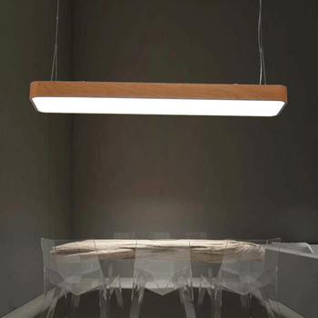 Imitation wood grain office hanging lamp, aluminum office study chandelier, commercial lighting,L90CM
