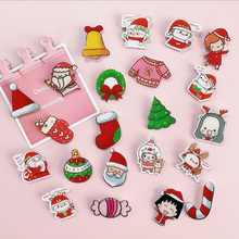 3pcs/lot Cute Christmas Icons Acrylic Badges for Backpack Badges Clothes Plastic Badge Kawaii Pin brooch Badge цены