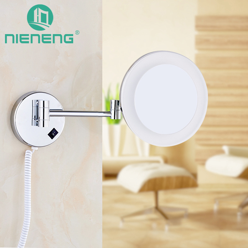 Nieneng Makeup Mirrors LED Bathroom Accessories LED Light Mirror 3X Bath Mirror Make up Toilet Magnifying Mirror ICD60524 цена
