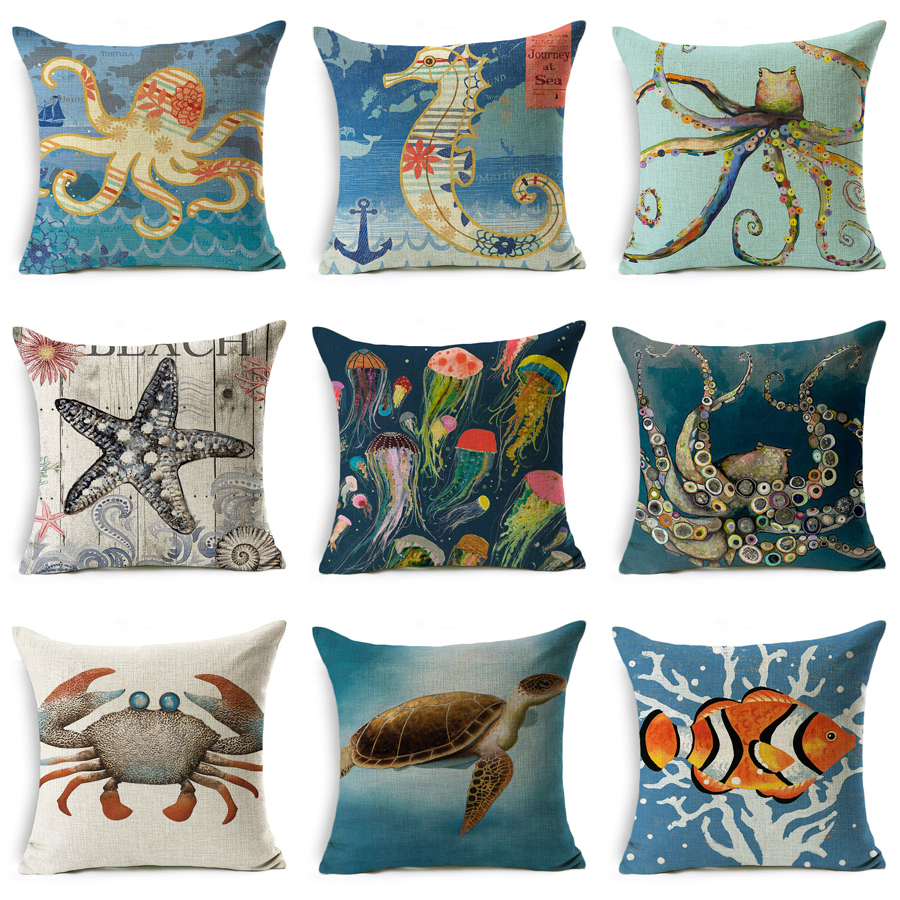 Marine Animals Sea Turtles Octopus Sea Horse Jellyfish Throw Pillow Case Couch Linen Pillow Cover Cushion Cover