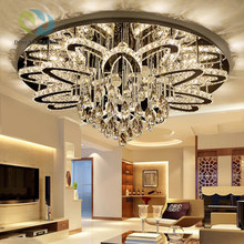 Disenolampa Round LED Crystal Chandelier Modern Ring Hanging Kitchen Lamp Circle Dining Room Living Room Light Fixture orj-1-002(China)