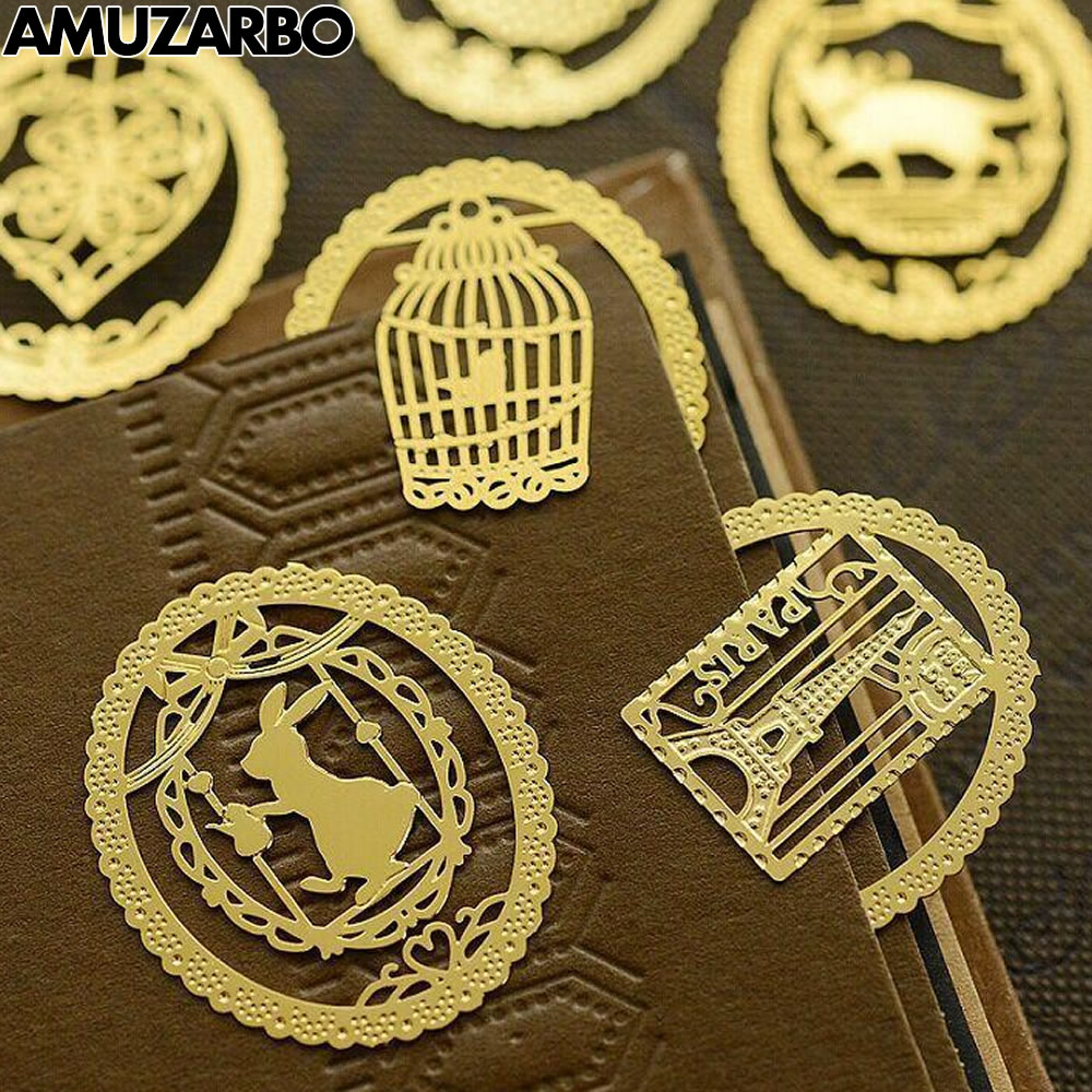 6 Optional Cute Lace Creative Cartoon Animal Metal Material Mini Hollow Bookmarks Stationery School Office Supplies Gift