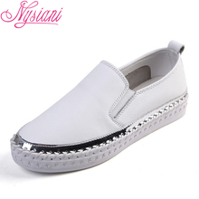 2019 Spring Flat Platform Women Leather Flat Shoes Slip-on Round Toe Thick Bottom Split Leather Casual White Loafers Nysiani цены онлайн