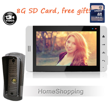 New Wired 7″ Color Recording Video Door Phone Intercom + Waterproof Doorbell Camera + Touch White Monitor + 8G SD Free Shipping