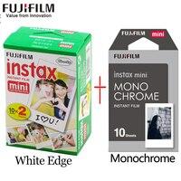 Fujifilm instax mini пленка 20 листов белый край + 10 листов черный и белый монохромная пленка для мгновенной камеры мини 8 7 s 25 50 s 9