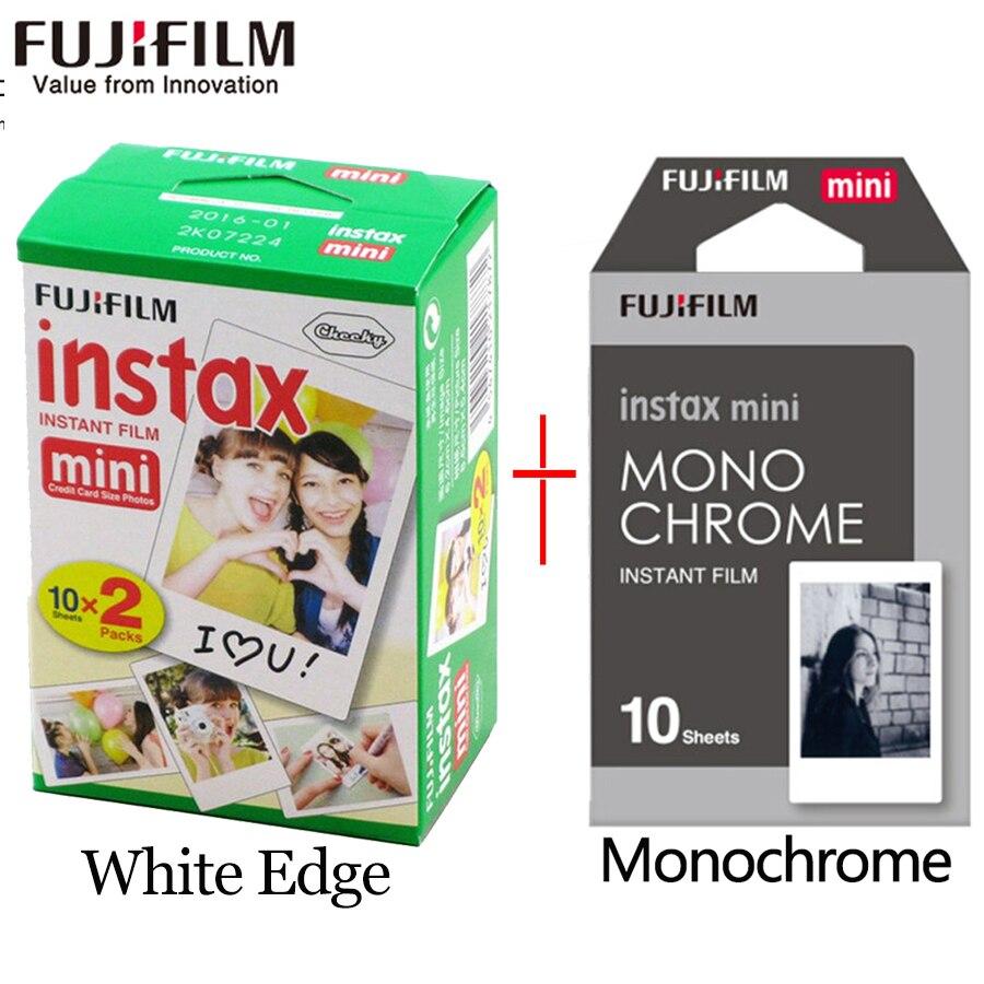 Fujifilm instax mini película 20 hojas borde blanco + 10 hojas en blanco y negro monocromo película instantánea de la cámara mini cámara 8 7 s 25 50 s 9