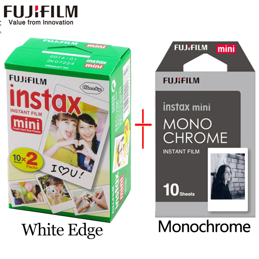 Fujifilm instax mini film 20 sheets white Edge +10 Sheets Black and white Monochrome Film for Instant Camera mini 8 7s 25 50s 9