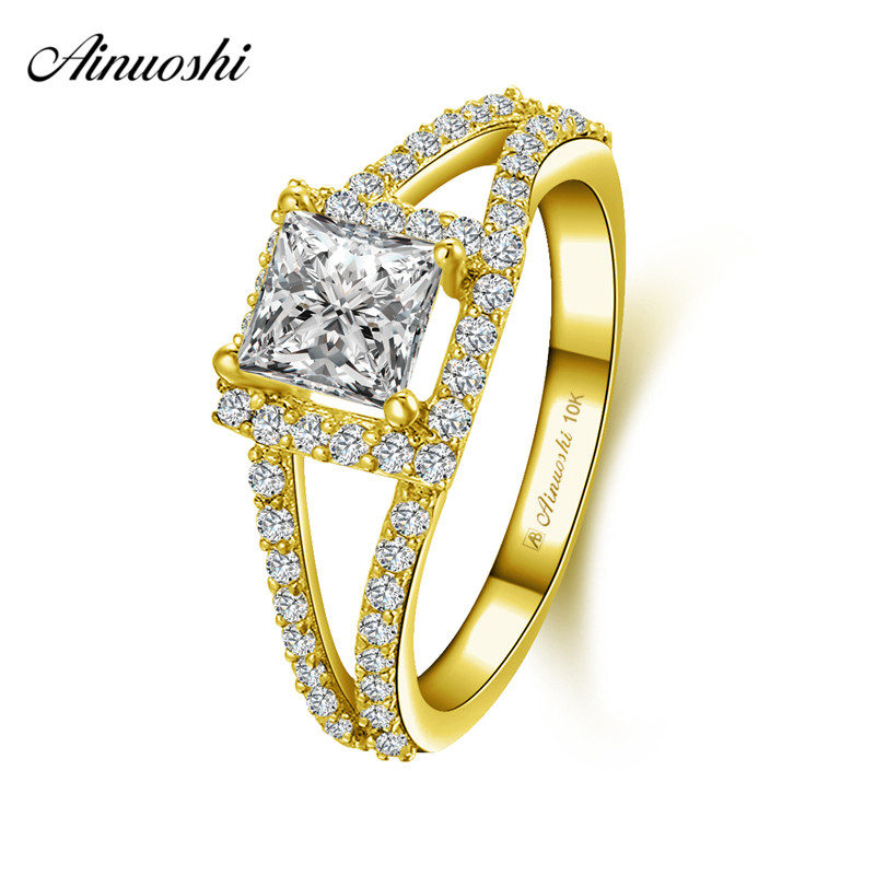 AINUOSHI 10k Solid Yellow Gold Woman Wedding Square Halo Ring 1ct Princess Cut Double Rows Shinning CZ Lady Engagement Jewelry