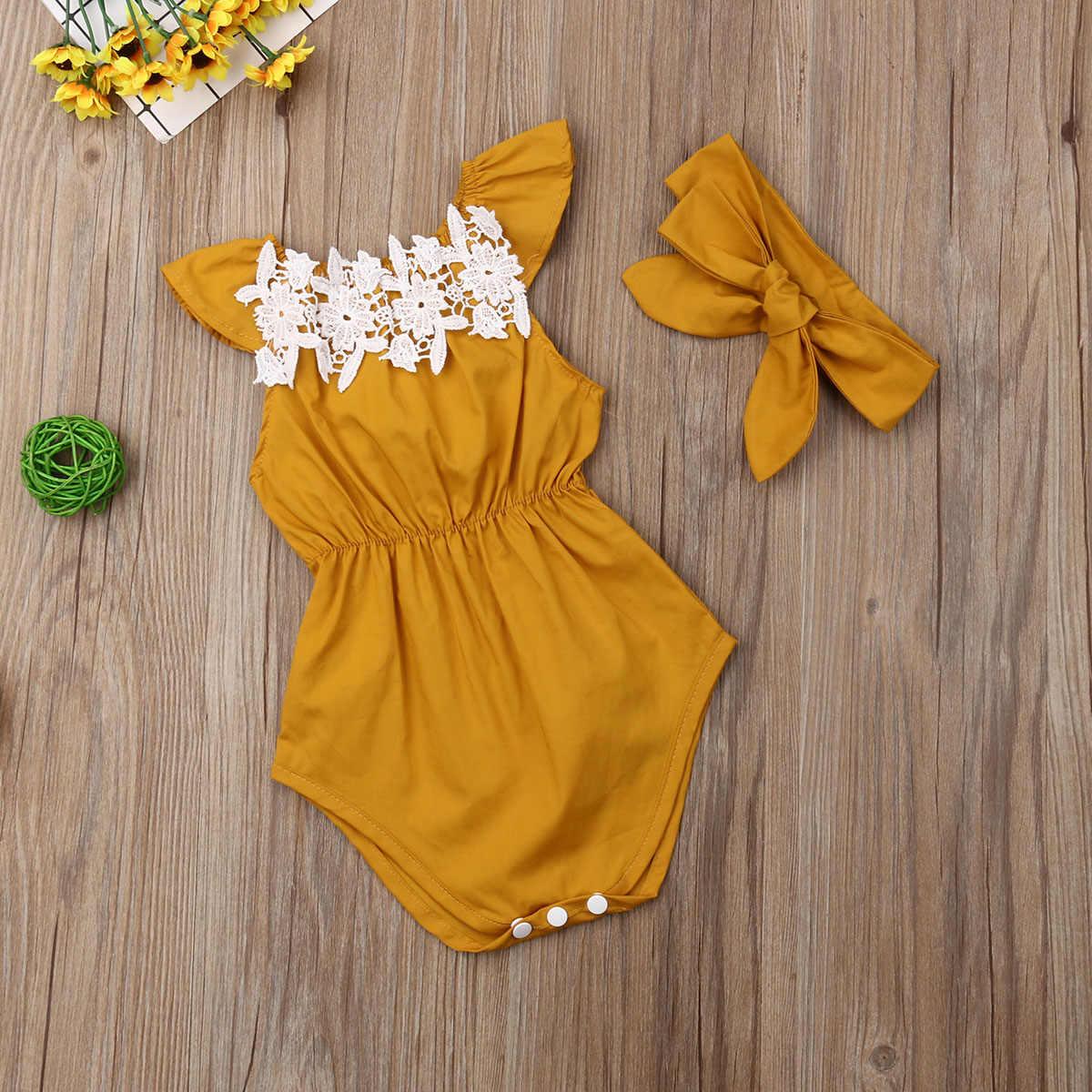 Милые Боди для новорожденных девочек; летняя одежда для малышей; кружевной комбинезон принцессы без рукавов с цветочным принтом + повязка на голову; комплект из 2 предметов