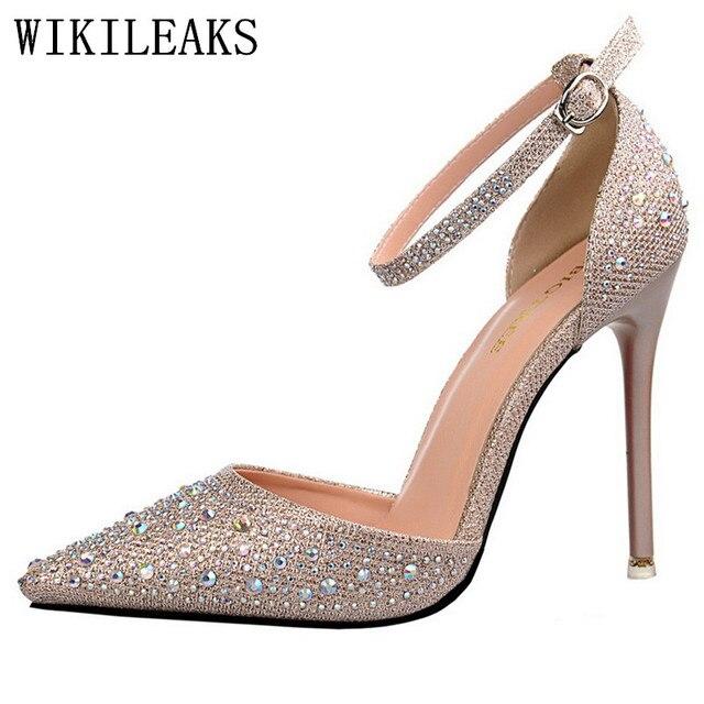 Summer Sandals Red High Heels Shoes Bling Bling Woman Italian Euros