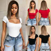 Women Bodysuit Ladies Solid Short Sleeve Bodycon Bandage Sexy Jumpsuit Crew Neck Romper 2019