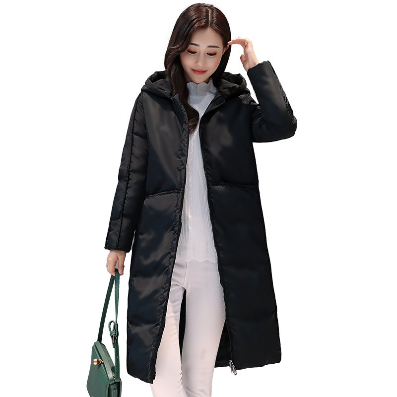 Fashion 2017 Winter Long Slim Women Jacket Warm Hooded Solid Female Parka High Quality Cotton Coat Wadded Outerwear YP0507