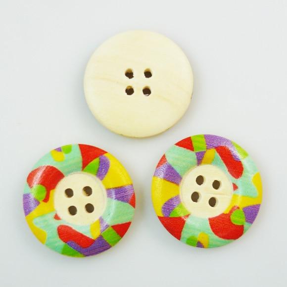 ᐃ20 unids 25mm patrón de pintura de madera botones de color madera ...