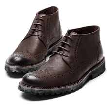 цены US Size 6-10 Two Tone Genuine Leather Lace Up Formal Dress Fretwork Oxford Mens Casual Wing Tip Brogue Martin Boots
