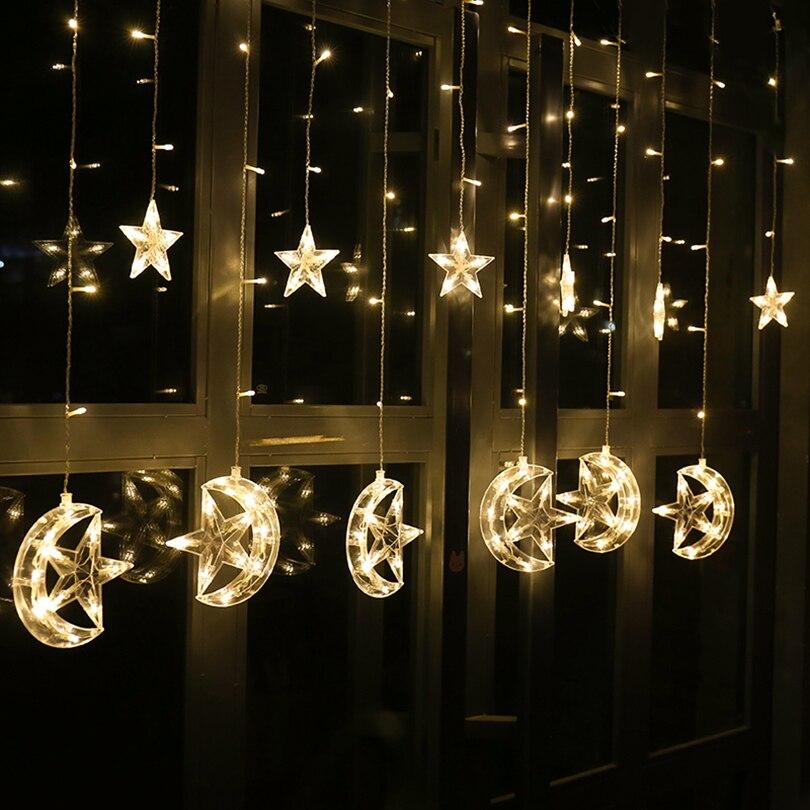 LED Curtain String Lights Star Moon Ramadan Light Indoor House Decoration Holiday Festival Outdoor Night Fairy Lighting Lamps