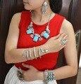 New fashion boho classic retro elegant temperament tibetian silver chunky turquoise bead pendants colar statement necklaces
