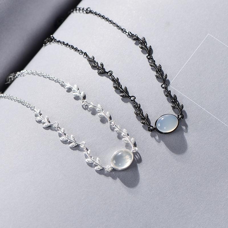 Ruifan Wholesale Leaf/Leaves Silver/Black 925 Sterling Silver Female Bracelet White Agate Bracelets for Women Jewelry YBR140