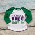baby girls cotton mermaid life raglans girls boutique cotton rangalns children mermaid  clothing