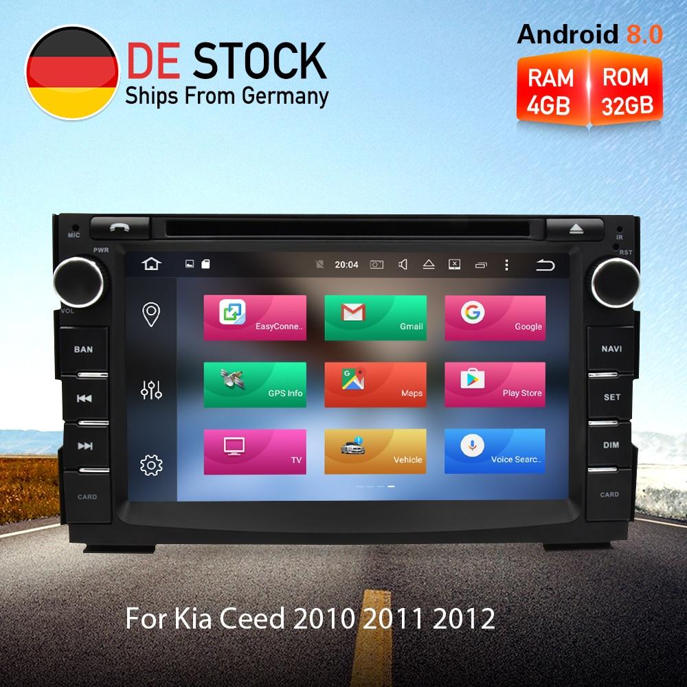 4G RAM Android 8.0 Car Radio DVD GPS Navigation Multimedia Player Stereo For Kia Ceed 2010 2011 2012 Auto Audio Video Headunit цена