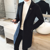 Long Men Coat England Style Single Breasted Solid Color Winter Wool Coat Men Hight Quality Gentleman Loose Mens Coats And Jacket