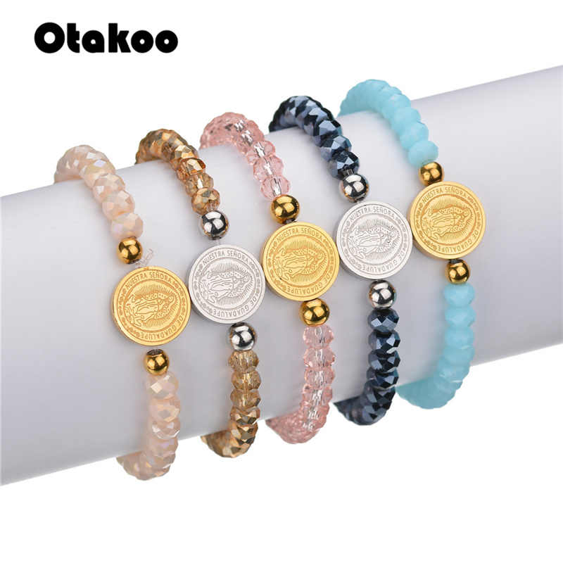 Otakoo Religious Pink Blue  Color Beads Virgin Mary Bracelet Stainless Steel Charm Catholic Bracelets for Women  Gift for Mother