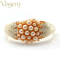 VOGEM Bohemia White Pearl Bangle Bracelets For Women Shiny Rhinestone Width Bangle Wedding Engagement Jewelry Wholesale