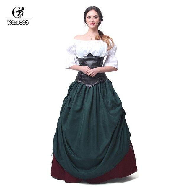 rolecos retro dress renaissance medieval long dresses with leather