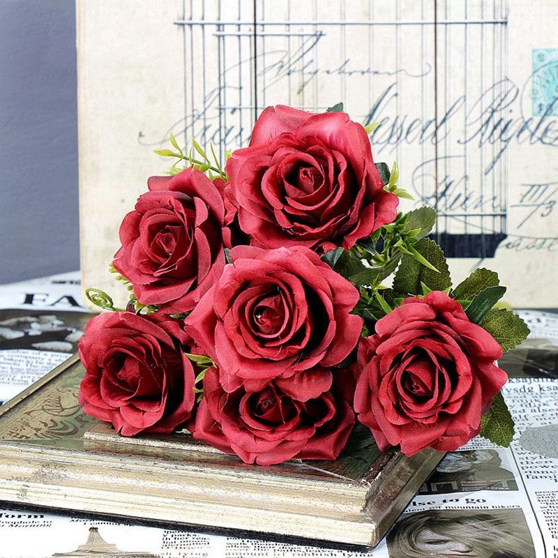 roses artificial flower bouquet wedding home decor (21)
