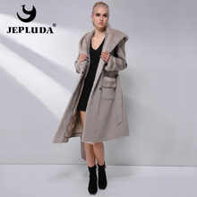 JEPLUDA New Cashmere Jacket Natural Mink Fur Shawl Cap 90% Wool Blends Winter Real Fur Coat Women Warm lining Real Fur Jacket