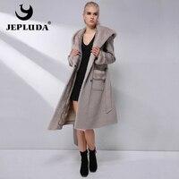 JEPLUDA New Cashmere Jacket Natural Mink Fur Shawl Cap 90% Wool Blends Winter Real Fur Coat Women Warm lining Real Fur Jacket