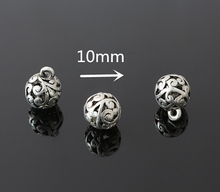 Hot Sale Jewelry Findings Accessories,50pcs Antique Silver Metal Alloy Carved Ball Charms Beads Pendant Fit Making