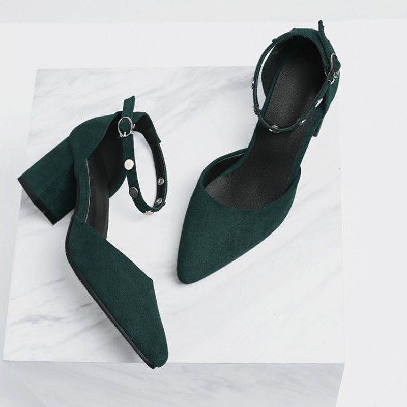 plus size 34 48 Fashion Summer Shoes Ankle Rivets Buckle Pumps Shoes Women Casual office ladies Pointed Toe Sandals party Pumps in High Heels from Shoes