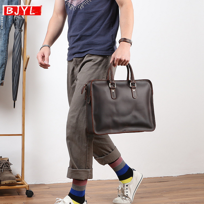 BJYL Men's Handbags Cowhide Leather Briefcase Big Laptop Bag Business Casual Crazy Horse Leather Retro Shoulder Bags Briefcases