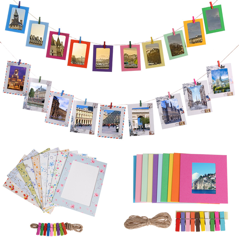 "Paper Frame With Clips And Rope Wall Photo Picture DIY Hanging Album 3/""//5/""//6/"" 8"