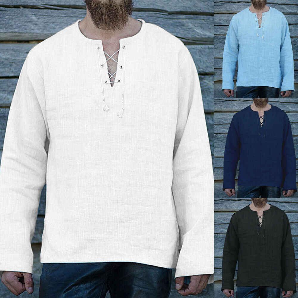 新レトロ男性 Tシャツリネン綿固体ブレンド長袖夏の V ネック男性トップストップス