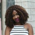 Новое Прибытие Afro Kinky Фигурные Синтетические Парики Для Чернокожих Женщин Тепловой устойчив Короткие парик Не Кружева Парик с Спираль Локон Волос Парика