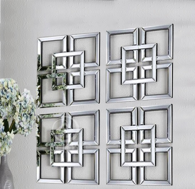 Mirrored wall decor square beveled mirror framed wall art ...